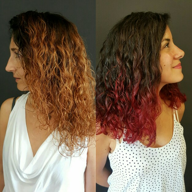 Color Degradado Cabello Rizado